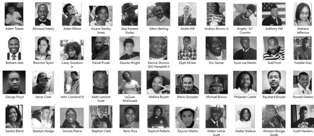 This is a collage of Black people killed by police